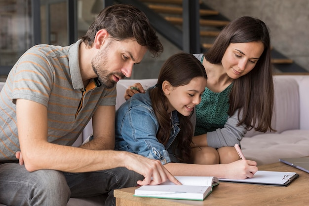 Family doing homeworks together