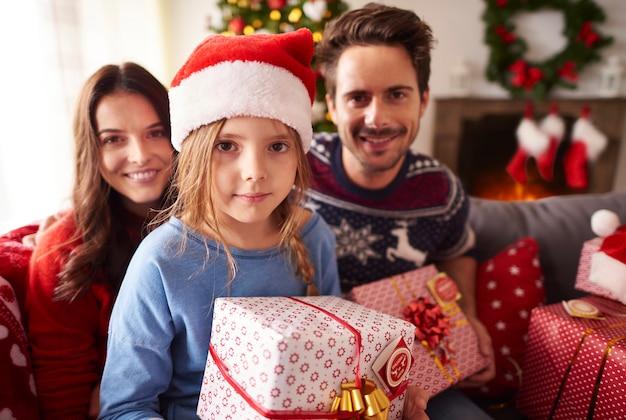 クリスマスの時期の家族