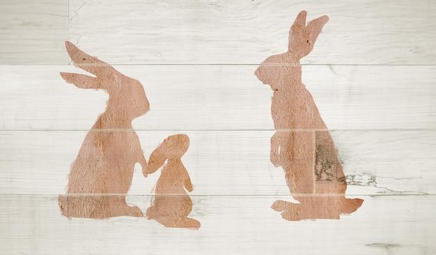 흰색 나무에 가족 부활절 토끼입니다.