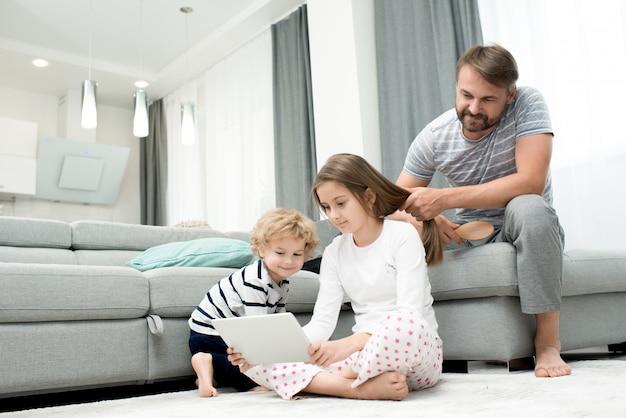 Family enjoying weekend at home