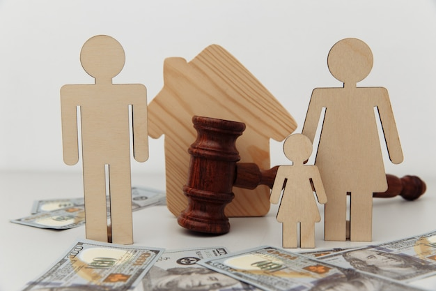Family figures divide by judge gavel and house.