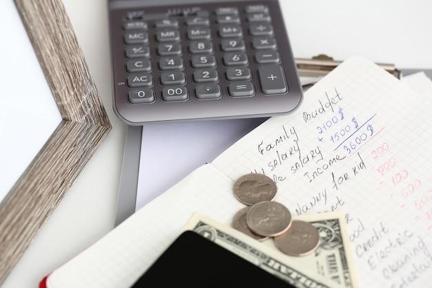 テーブルの上に横たわるメモ帳ページに書かれた家族の財務統計