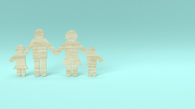 Family group wood die cut for home concept.