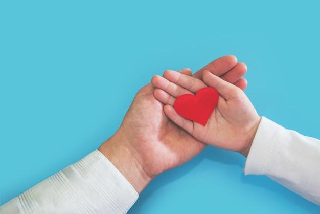 赤い心臓の心臓の健康保険の臓器提供を保持している家族の手