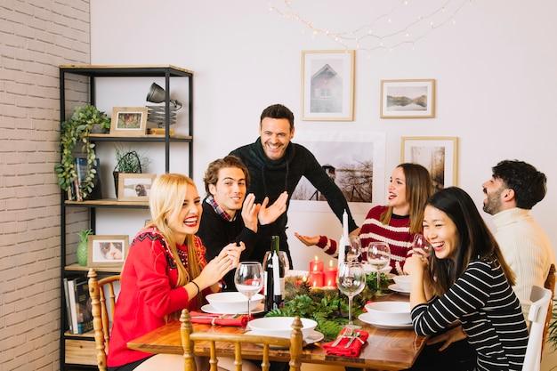 Family having christmas dinner at table