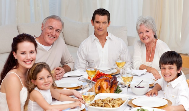 Family having a dinner together at home