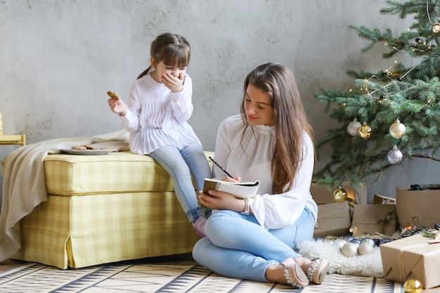 Семья весело в рождество