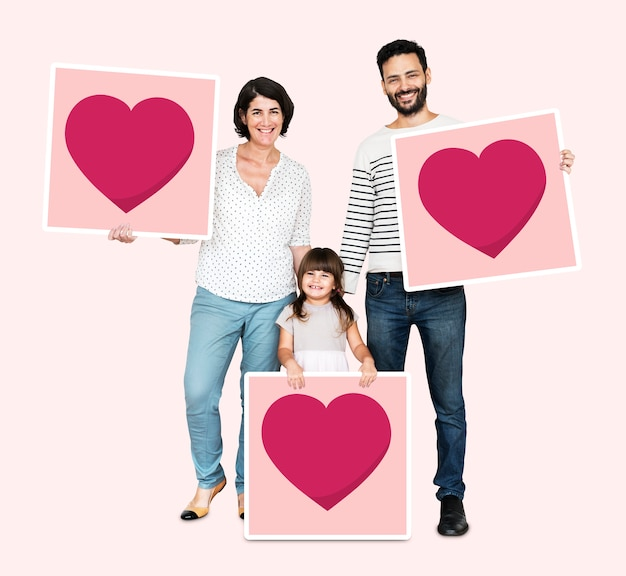 Family holding heart board icons