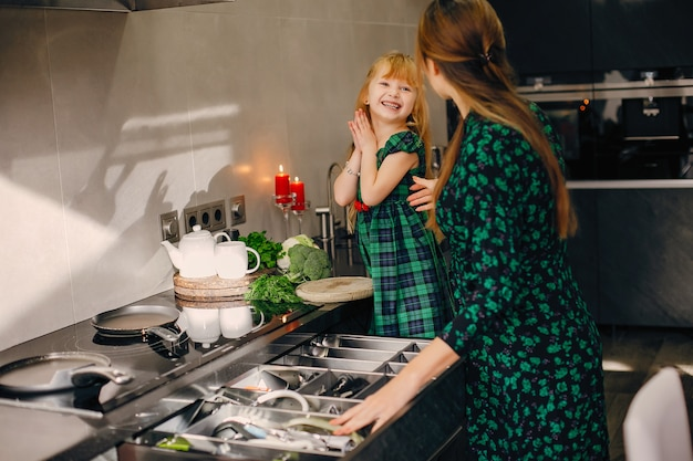 台所で家族