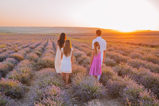 夜明けにラベンダーの花のフィールドの家族