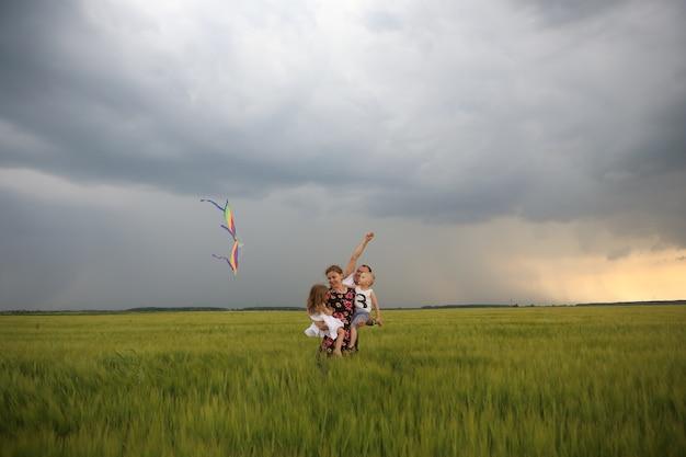 Family joy flying kite field wind children