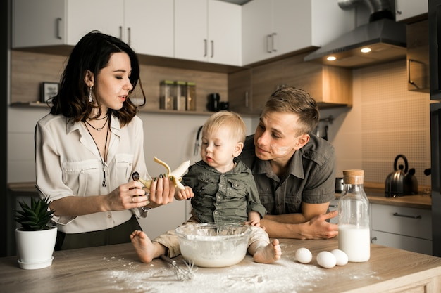 Family in the kitchen