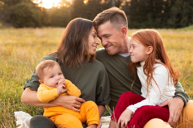 Family lifestyle outdoors in autumn time