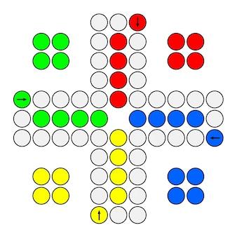 家族のルドーボードゲームは、白い背景にデザインを印刷する準備ができています。 3dレンダリング