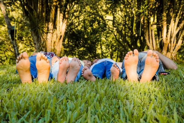 草の中に横たわっている家族