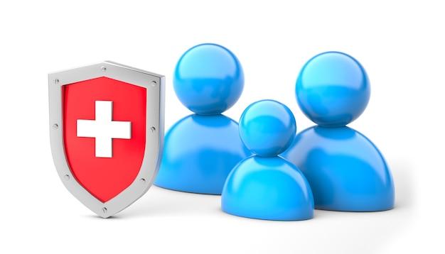 Семейная медицинская защита семейное страхование щит с крестом и семьей, изолированные на белом