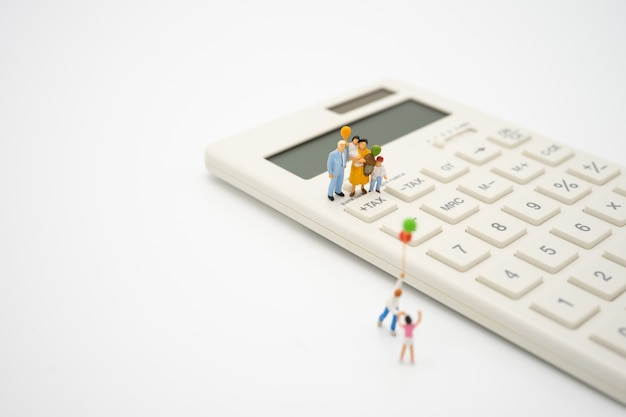 Family miniature people pay queue annual income (tax) for the year on calculator.
