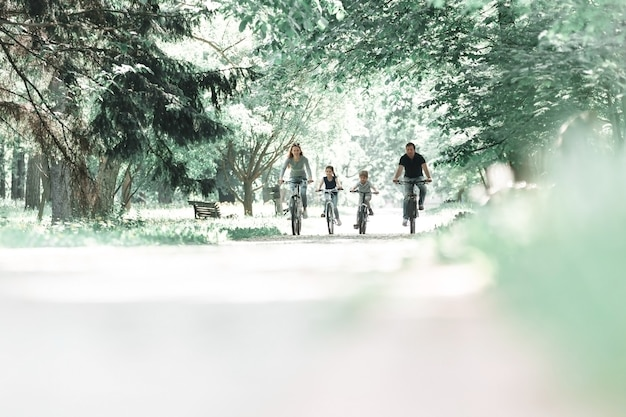 Family on a morning bike ride in the park