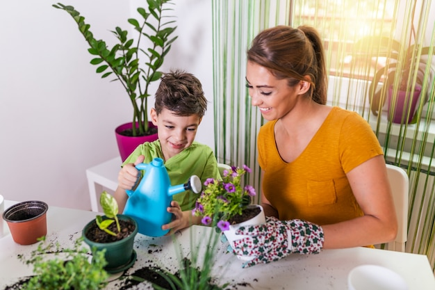 家族の母と息子は花を育て、庭師に苗を移植します。