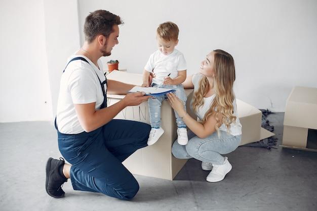 가족 이사 및 상자 사용