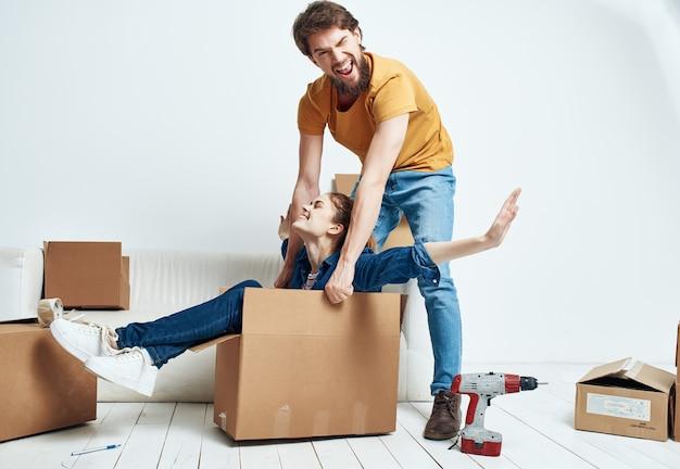 Family moving housewarming boxes fun