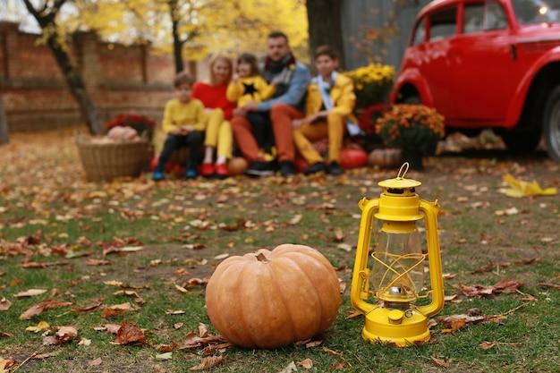 Family photo shoot in autumn park