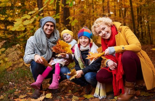 秋の季節に家族が葉を摘む