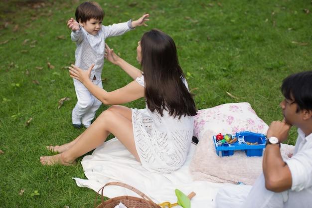 公園での家族のピクニック
