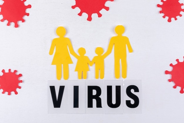 Family picture with virus around