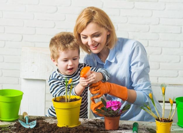 가족 심기. 엄마와 아들은 꽃을 기른다.