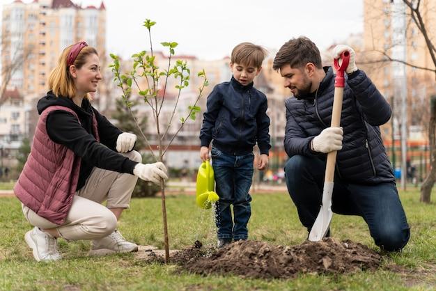 家族が一緒に木をメッキ