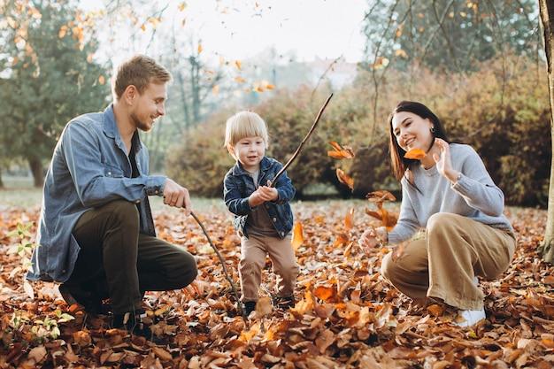 Семья играет в осеннем парке, развлекаясь