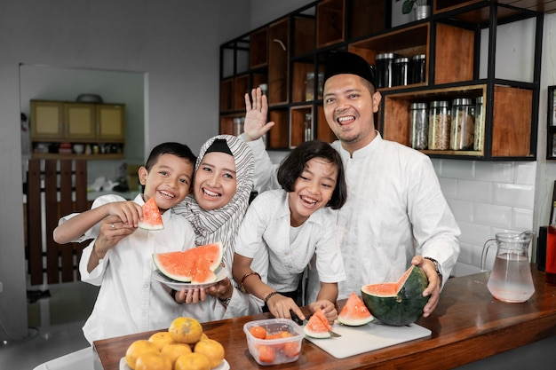 Family prepare for break fasting
