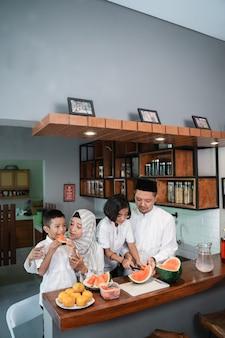 Family prepare for break fasting