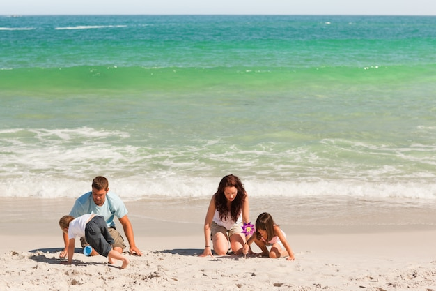 Family on the sand