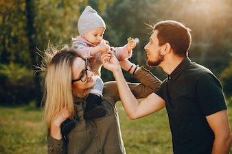 Family spend time in a park