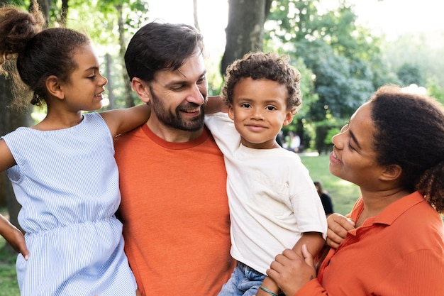 Family spending time together outdoors in the park