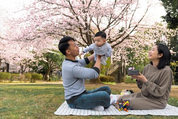 Семья, проводящая время вместе на открытом воздухе