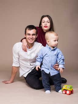 Family studio photography. warm background