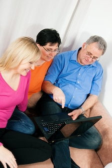 Family surfing the net
