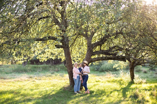 Family of three generation women, spending time together in green summer garden, posing under the big tree.