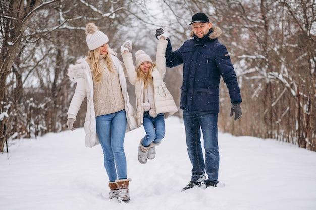 Famiglia insieme in un parco invernale