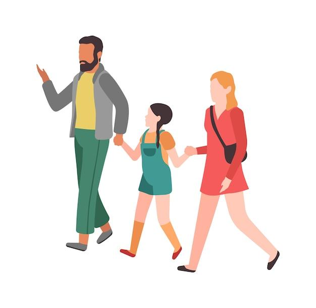 家族の散歩。お母さんお父さんと子供が手をつないで公園を歩く、幸せな若い親漫画カラフルなキャラクターの関係親の概念、フラットベクトル分離イラスト