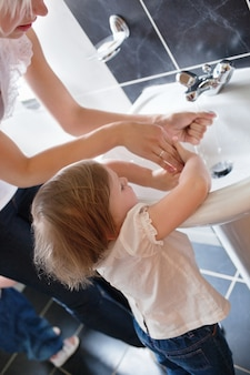 Family washing hands