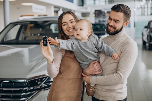 Family with bbay girl choosing a car in a car saloon