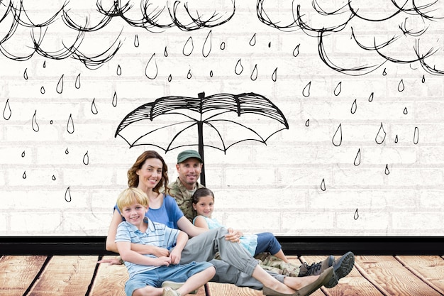Family with a drawing of rain over them