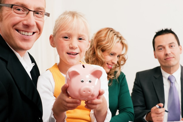 Family with financial consultant