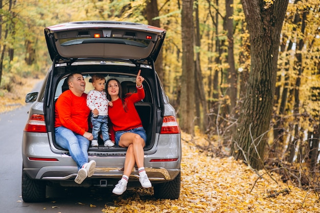Family with a little son in autumn park sitting in car
