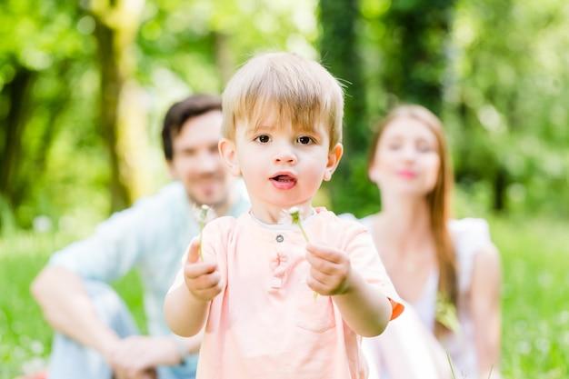 민들레 꽃을 불고 초원에 아들과 함께 가족