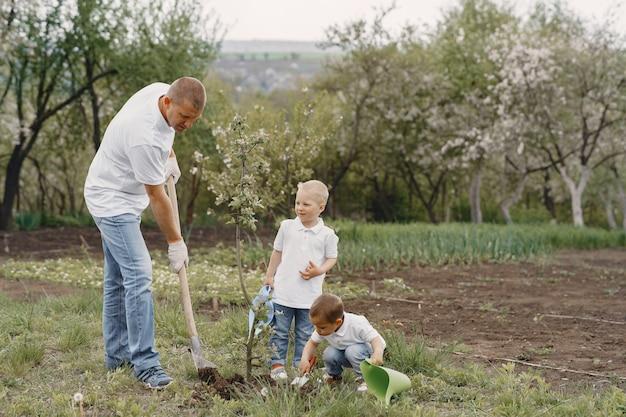 小さな息子と家族が庭に木を植えています